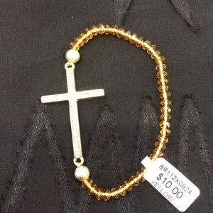 Stretchy rhinestone and beaded bracelet